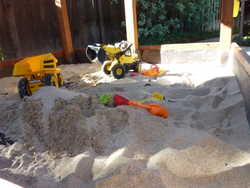 Close-up of his fav Sandbox!